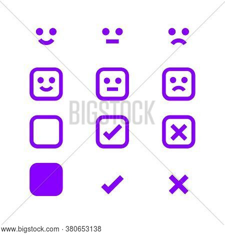 Purple Glowing Icon Emotions Face, Emotional Symbol And Approval Check Sign, Fluorescent Emotion Fac