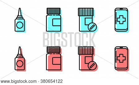 Set Line Medicine Bottle And Pills, Bottle Nasal Spray, Medicine Bottle And Emergency Mobile Phone C