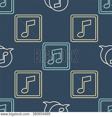 Set Line Musical Note In Speech Bubble, Music Note, Tone And Music Note, Tone On Seamless Pattern. V
