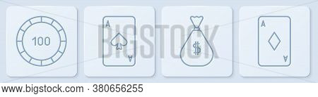 Set Line Casino Chips, Money Bag, Playing Card With Spades And Playing Card With Diamonds. White Squ