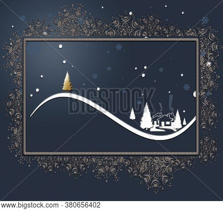 Beautiful Stylish Luxury Christmas Winter Night Landscape With Houses, Moon, Pine Fir And Gold Chris