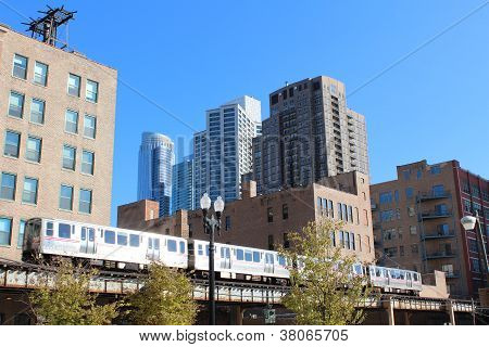 Blue line train in downtown Chicago