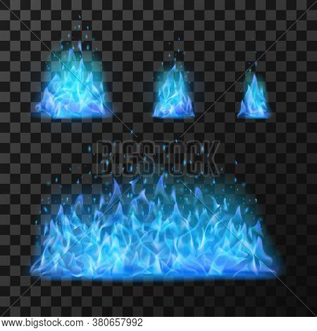 Blue Fire Flames. Light Hot Blazing, Danger And Power Burn Illustration, Energy Fiery Warm Glow Vect