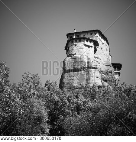 Rousanou Nunnery on the cliff in Meteora, Greece. Black and white photography
