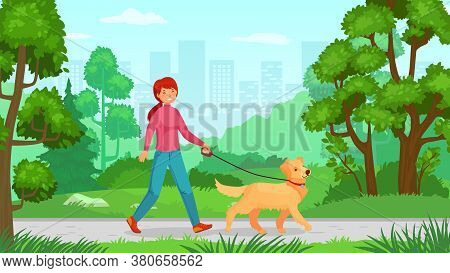 Girl Walking With Dog. Walk Canine, Young Lady Friendship With Pet, Person Outdoor Walking. Vector I