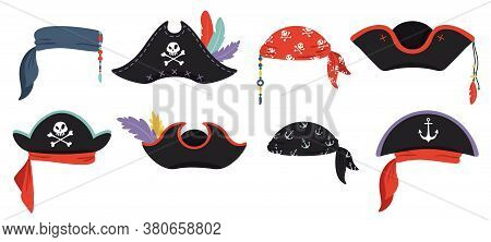 Pirates Hats. Sea Piracy Cap Fashion, Buccaneer Headgear, Headdress Accessory To Party With Roger, V