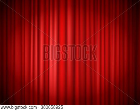Red Curtains Background. Red Curtain At Stage For Show, Velvet Presentation Textile, Concert Theatri