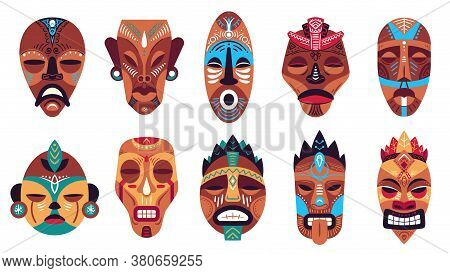 Tribal Mask. Hawaii Totem, Ritual Or Ceremonial African, Hawaiian Or Aztec Masks, Exotic Traditional
