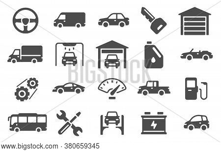 Auto Icons. Vehicle Silhouettes And Servicing Symbols. Spare Parts, Auto Repair And Car Wash Design