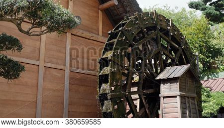 Waterwheel in traditional chinese garden
