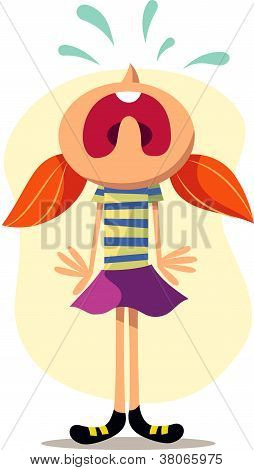 A Vector Illustration Of A Girl Crying