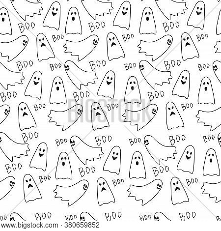 Vector Seamless Pattern Casts And Boo. Halloween Background. Print On Paper, Fabric, Ceramics.