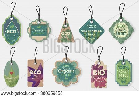 Eco Label. Natural Organic Cardboard Labels With Ropes, Vintage Eco Tags For Promotion Flyers Or Cer