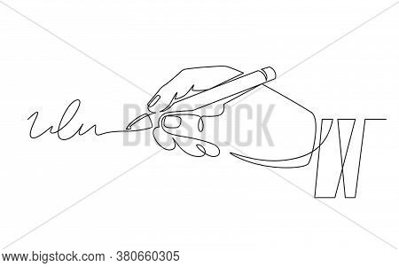 Signature And Hand. Document Signing, Hand With Pen Signed Contract. Person Authentication, Autograp