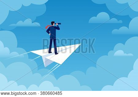 Business Vision. Businessman On Paper Plane With Telescope Looking New Idea. Future Strategy, Leader