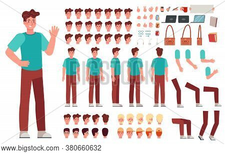 Cartoon Male Character Kit. Man Animation Body Parts, Guy In Casual Clothes. Boy Constructor With Ha