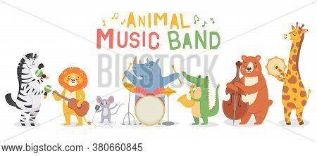 Animal Musicians Characters. Funny Animals Play Musical Instruments, Musicians With Guitar, Sax And