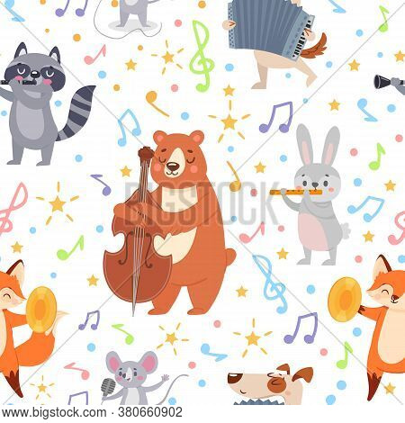 Animal Musicians Seamless Pattern. Funny Animals Musicians Play Different Musical Instruments Wallpa