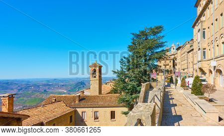 View of San Marino with street and bell tower, The Respublic of San Marino. Landscape, cityscape