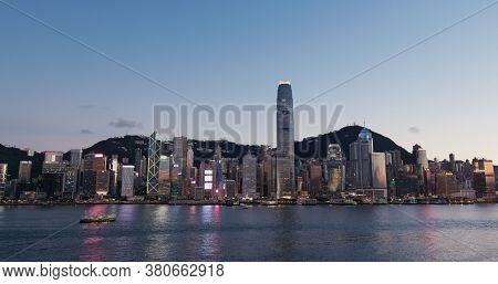 Victoria Harbor, Hong Kong 30 July 2020: Hong Kong city in the evening