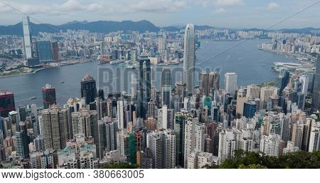 Victoria Peak, Hong Kong 20 July 2020: Hong Kong city skyline