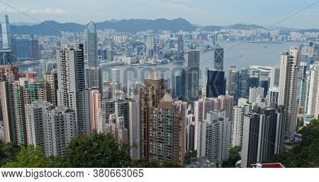 Victoria Peak, Hong Kong 30 July 2020: Hong Kong city skyline