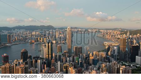 Victoria Peak, Hong Kong 19 July 2020: Top view of Hong Kong city