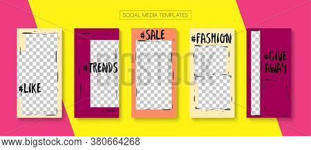 Mobile Stories Vector Collection. Online Shop Polygon Invitation Advert. Hipster Sale, New Arrivals