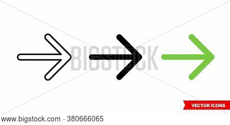 Right Icon Of 3 Types Color, Black And White, Outline. Isolated Vector Sign Symbol.