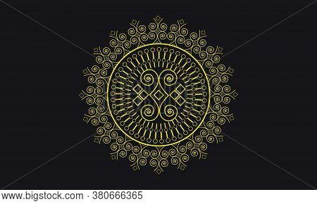 Persian Mandala Floral Doodle Circle Abstract Pattern Design Of Turkish Vector On Black Background