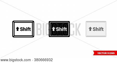 Shift Button Icon Of 3 Types Color, Black And White, Outline. Isolated Vector Sign Symbol.