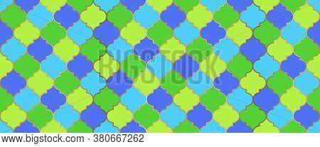Ramadan Kareem Islam Illustration. Ramadan Traditional Mosque Golden Grid. Persian Mosque Window Sha