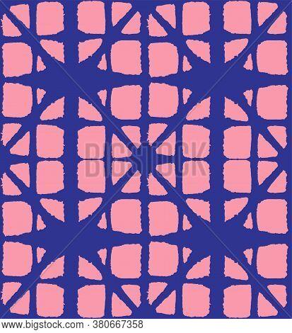Japanese Tie Dye Seamless Pattern. Geometric Bohemian Asian Tie Dye Design. Elegant Kimono Textile.