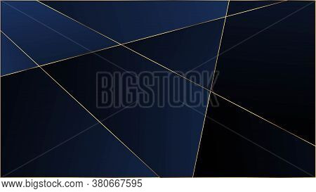 Blue Luxury Polygon Texture. Elegant Dark Platinum Chic Shapes Frame Gold Lines Triangular Premium P