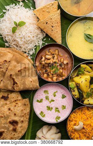 Vegetarian Food Thali Or Platter From Maharashtra, India