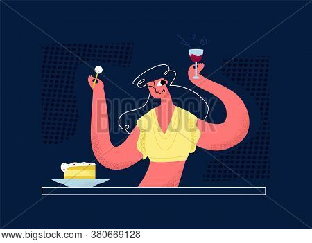 Vector Flat Drunk, Cheerful Woman In Bar At Table. She Eats Cake, Drinks Wine From Glass. Concept En