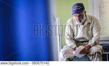 Aleppo, Syria, March 5, 2019:\nportrait Of A Tired Elderly Man.