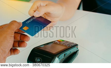 The Guy Who Pays At The Counter Pays Him Money Using Credit Cards, Shopping And Retail Ideas.