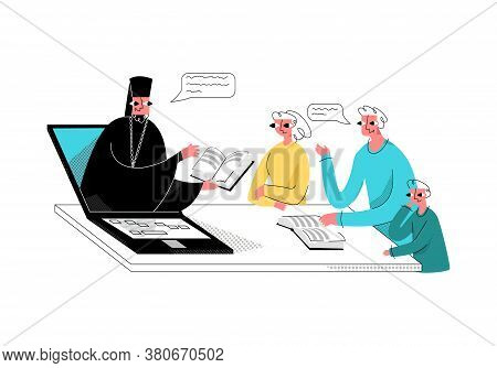 Vector Flat Illustration With Family Listening To Sermon And Bible Reading By Orthodox Priest, Which