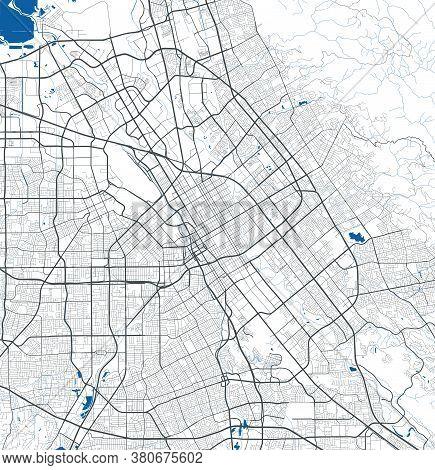 San Jose City Map Poster. Map Of San Jose Street Map Poster. San Jose Map Vector Illustration.