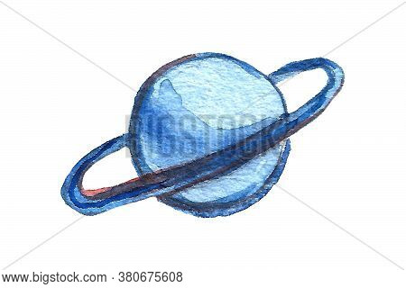 Watercolor Space And Astronautics Illustration. Hand Drawn Background For Kids. Cartoon Planet. Funn