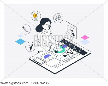Graphic And Web Design. Concept For Creative Process, Graphic And Web Design And Development.vector