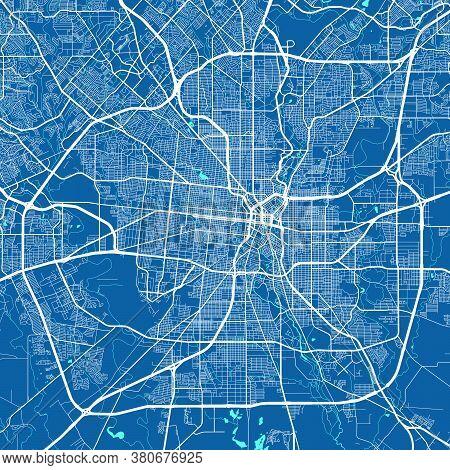 Vector Map Of San Antonio. Street Map Poster Illustration. San Antonio Map Art.