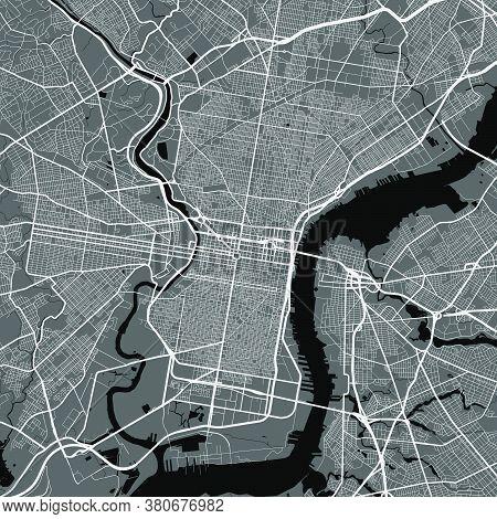 Urban City Map Of Philadelphia. Vector Illustration, Philadelphia Map Art Poster.
