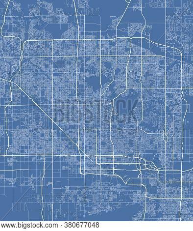 Phoenix City Map Poster. Map Of Phoenix Street Map Poster. Phoenix Map Vector Illustration.