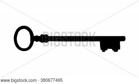 Side View Antique Iron Key Graphic Silhouette Isolated On White Background