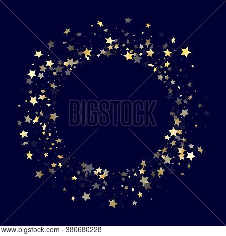 Gold Gradient Star Dust Sparkle Vector Background. Cosmic Gold Star Sparkles Dust Elements On Dark B