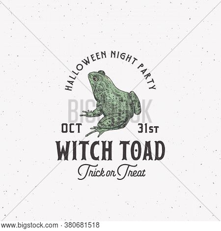 Creepy Witch Toad Halloween Night Party Sign, Logo Or Label Template. Hand Drawn Colorful Frog Sketc
