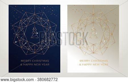 Christmas Greeting Cards Design With Stylized Christmas Wreath, Christmas Tree And Snowflakes Decora