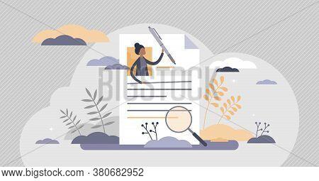 Cv Curriculum Vitae As Employee Resume For Job Vacancy Flat Tiny Person Concept. Recruitment Hr Proc